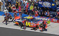 Apr 29, 2007; Talladega, AL, USA; Nascar Nextel Cup Series driver Jeff Gordon (24) pits during the Aarons 499 at Talladega Superspeedway. Mandatory Credit: Mark J. Rebilas