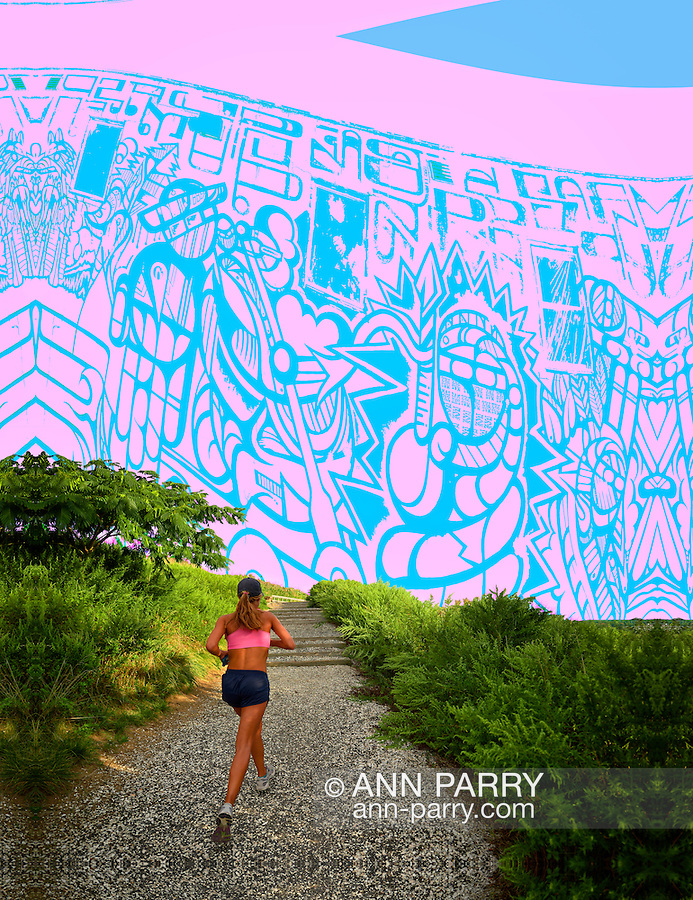 South Merrick, New York, USA - September 7, 2014 - At dusk, young woman, seen from back, jogs during a  late summer day with pleasant weather at Norman J Levy Park and Preserve marshland on Long Island, New York. Sky created from photo same photographer captured of street artist MASPAZ art on Huntington Arts Council exterior wall during SPARKBOOM Off the Walls Event 2013