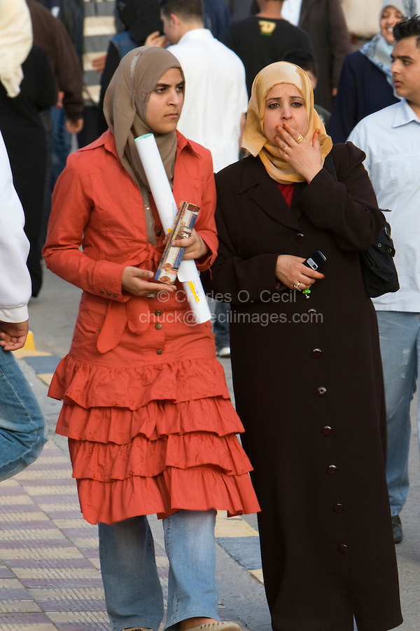 Tripoli, Libya, North Africa - Libyan Women at International Trade Fair.  Clothing Styles.