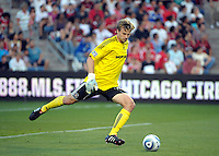 Chicago Fire goalkeeper Andrew Dykstra (40) kicks the ball.  AC Milan defeated the Chicago Fire 1-0 at Toyota Park in Bridgeview, IL on May 30, 2010.