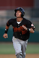 Devin Lohman #18 of the Bakersfield Blaze runs the bases against the Lancaster JetHawks at Clear Channel Stadium on May 7, 2012 in Lancaster,California. (Larry Goren/Four Seam Images)