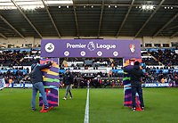 Workers assemble the Premier League arch during the Premier League match between Swansea City and Bournemouth at The Liberty Stadium, Swansea, Wales, UK. Saturday 25 November 2017