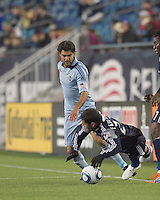 Sporting Kansas City midfielder Graham Zusi (8) dribble fails. In a Major League Soccer (MLS) match, the New England Revolution defeated Sporting Kansas City, 3-2, at Gillette Stadium on April 23, 2011.