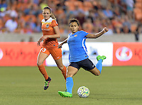 Raquel Rodriguez (11) of Sky Blue FC takes a shot at the Houston Dash goal on Friday, April 29, 2016 at BBVA Compass Stadium in Houston Texas. The Houston Dynamo and Sky Blue FC tied 0-0.