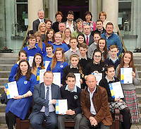 Killarney Rotary Club President Paul Sherry presents the Rotary Youth Leadership Development competition to overall winner Fionan O'Donoghue, St. Brendan's College. Also included is St. Brendan's student  Darragh Lynch and Mish O'Donoghue (St. Brendan's College), St. Brigid's Killarney representatives  Laura O'Keeffe, Aoife Allen, Mary O'Rourke (teacher), Eimear Courtney, Siobhan Fleming and Megan O'Neill, Killarney Community College  representatives   Hannah Robson, Kerri McCarthy (teacher) Katie Moloney, Rossa Foley and Bobbi Breen, Intermediate School Killorglin  representatives  Zoe Hyde, Emma O'Shea, James O'Mahony (teacher), Raymona O'Connell, Ciara O'Sullivan and Robert Leen, Presentation Milltown  representatives Megan O'Connor, Ronan O'Shea, Sinead Van Bladel and Aileen O'Mahony. Also included are Killarney Rotary Club members Conor Griffin, Ciara Irwin Foley, Con Keane, Tom Leslie, Grace O'Neill, Tim Horgan, Sean Treacy, Katie O'Connell, Rachel Foley and Conor Hennigan.  Picture: Eamonn Keogh (MacMonagle, Killarney)