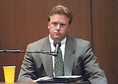 Jim Merrill of the Hertz Corporation, is on the witness stand during the trial of former NFL star running back O.J. Simpson for the murder of his former wife, Nicole Brown Simpson and a friend of hers, restaurant waiter, Ron Goldman in Los Angeles County Superior Court in Los Angeles, California on July 13, 1995.<br /> Credit: Steve Grayson / Pool via CNP