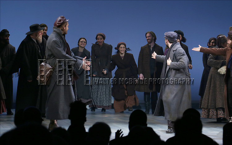 Melanie Moore, Alexandra Silber and Samantha Massell with cast during the Broadway Opening Night Performance Curtain Call bows for 'Fiddler On The Roof'  at the Broadway Theatre on December 20, 2015 in New York City.