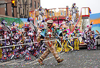 PHILADELPHIA - JANUARY 1:  Members of the South Philadelphia String Band perform during the 2011 Mummers Parade in Philadelphia, Pennsylvania. Thousands of people enjoyed the warmer weather and watched the parade, which has been around for over 100 years. (Photo by William Thomas Cain/Getty Images)
