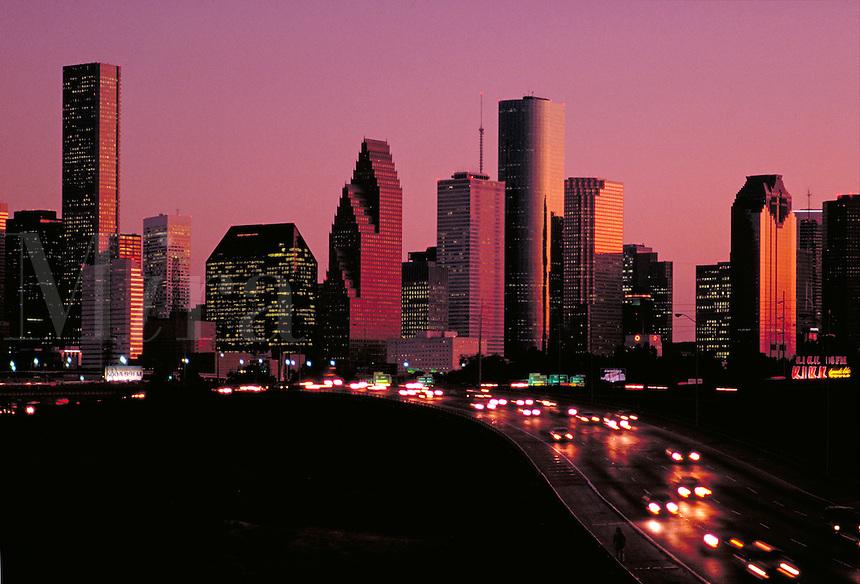 Skyline; city; office buildings; traffic. Houston Texas.