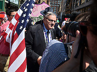 Cleveland, OH - July 19, 2016: Maricopa County Arizona Sheriff Joe Arpaio makes his way through a crowd of people as he walks to a checkpoint to enter the Quicken Loans Arena for the Republican National Convention in Cleveland, Ohio, July 19, 2016.  (Photo by Don Baxter/Media Images International)