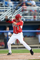 Batavia Muckdogs outfielder Ryan Aper (3) at bat during a game against the Jamestown Jammers on July 7, 2014 at Dwyer Stadium in Batavia, New York.  Batavia defeated Jamestown 9-2.  (Mike Janes/Four Seam Images)