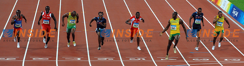 Usain Bolt wins (3rd R) Men's 100m race with new world record 9.69.<br /> Form L To R, Churandy Martina, Marc Burns Trinidad, Asafa Powell Jamaica, Walter Dix Usa, Bronze Medal, Richard Thompson Trinidad Silver Medal, Darvis Patton Usa, Michael Frater Jamaica<br /> Usain Bolt vince i 100 metri con il nuovo record del mondo<br /> National Stadium - Bird Nest<br /> Pechino - Beijing 16/8/2008 Olimpiadi 2008 Olympic Games<br /> Foto Andrea Staccioli Insidefoto