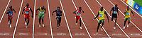 Usain Bolt wins (3rd R) Men's 100m race with new world record 9.69.<br /> Form L To R, Churandy Martina, Marc Burns Trinidad, Asafa Powell Jamaica, Walter Dix Usa, Bronze Medal, Richard Thompson Trinidad Silver Medal, Darvis Patton Usa, Michael Frater Jamaica<br /> Usain Bolt vince i 100 metri con il nuovo record del mondo<br /> National Stadium - Bird Nest<br /> Pechino - Beijing 16/8/2008 Olimpiadi 2008 Olympic Games<br /> Foto Andrea Staccioli Insidefoto