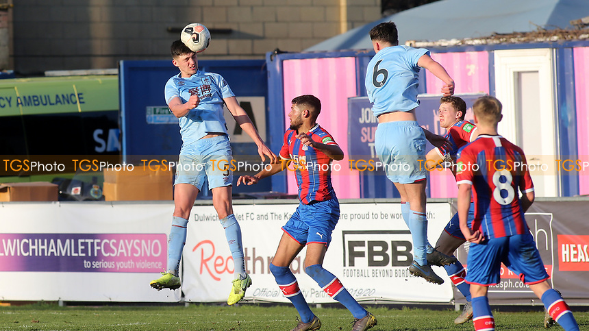Bobby Thomas of Burnley U23's heads the ball into the Crystal Palace penalty area during Crystal Palace Under-23 vs Burnley Under-23, Premier League Cup Football at Champion Hill Stadium on 6th February 2020