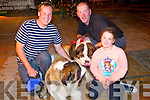 Keith Galvin, Killarney, with their dog Coco (St Bernard) with Ella and Denis Brosnan, Ballyroe pictured with their dog Bell (St Bernard) pictured at the Woof Woof dog show in aid of Liam's Lodge on Sunday afternoon.