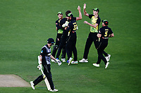 Andrew Tye of Australia celebrates with teammates for the wicket of Mitchell Santner of New Zealand. New Zealand Black Caps v Australia, Final of Trans-Tasman Twenty20 Tri-Series cricket. Eden Park, Auckland, New Zealand. Wednesday 21 February 2018. © Copyright Photo: Anthony Au-Yeung / www.photosport.nz
