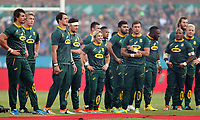 PRETORIA, SOUTH AFRICA - OCTOBER 06: General view of South Africa singing the national anthem during the Rugby Championship match between South Africa Springboks and New Zealand All Blacks at Loftus Versfeld Stadium. on October 6, 2018 in Pretoria, South Africa. Photo: Steve Haag / stevehaagsports.com