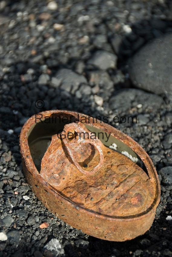 Spain, Canary Islands, La Palma, rusty sardines can