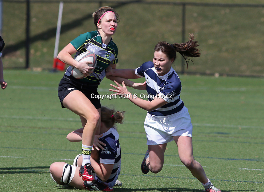 Penn State women's rugby Darina Roe against Allegheny All Stars women's rugby on March 31, 2018.  Photo/© 2018 Craig Houtz