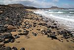 Coastal scenery beach on west coast of Graciosa island, Lanzarote, Canary Islands, Spain