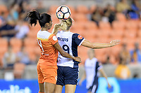 Houston, TX - Saturday July 15, 2017: Bruna Benites and Kristie Mewis during a regular season National Women's Soccer League (NWSL) match between the Houston Dash and the Washington Spirit at BBVA Compass Stadium.