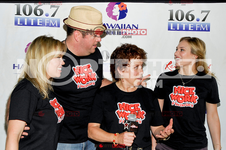 """NEW YORK - AUGUST 16: Cast of """"Nice Work If You Can Get It"""" backstage during 106.7 Lite FM Presents Broadway in Bryant Park on August 16, 2012 in New York City. (Photo by MPI81/MediaPunchInc)"""