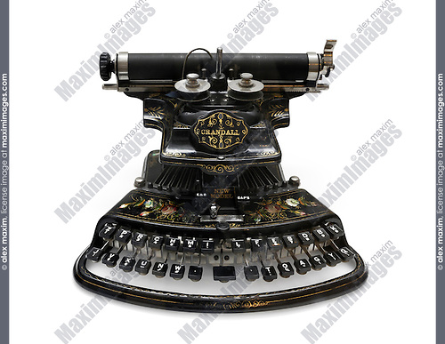 The Crandall New Model antique typewriter invented by Lucien Crandall in 1875 Isolated with clipping path on white background