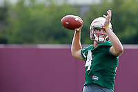 TALLAHASSEE, FLA.8/6/13-FSU080613CH-Florida State quarterback Jacob Coker throws during practice Aug. 6, 2013 in Tallahassee, Fla.<br /> <br /> COLIN HACKLEY PHOTO