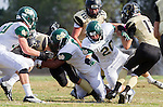 Palos Verdes, CA 10/25/13 - \22\, Jeff Ickes (Peninsula #13), Glen Mitchell (Mira Costa #20) and Ben Verbrugge (Mira Costa #8) in action during the Mira Costa vs Peninsula varsity football game at Palos Verdes Peninsula High School.