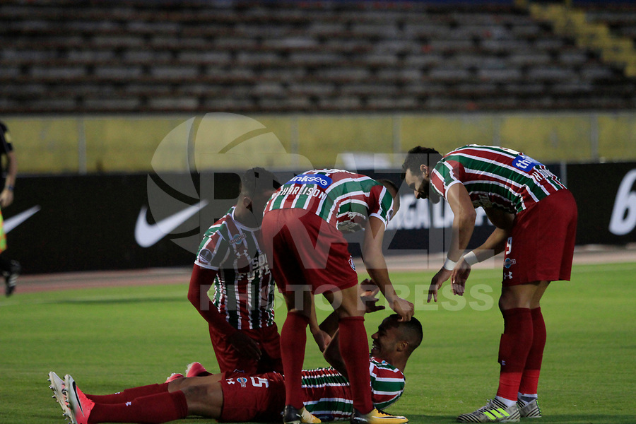 QUITO, EQUADOR, 26.07.2017 - UNIVERSIDA CATOLICA-FLUMINENSE - Marlon Freitas comemora gol do Fluminense contra Universidad Catolica (ECU) em partida valida pela Copa Sudamericana no Atahulapa Estadio na cidade de Quito no Equador.(Foto:  Franklin Jácome/Brazil Photo Press)