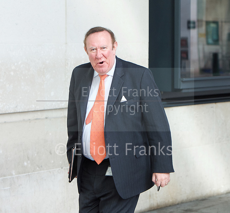 Andrew Neil <br /> arrives for the Sunday Politics show <br /> BBC, Broadcasting House, London, Great Britain <br /> 2nd April 2017 <br /> <br /> <br /> Andrew Neil <br /> arrives for the Sunday Politics show <br /> <br /> Photograph by Elliott Franks <br /> Image licensed to Elliott Franks Photography Services