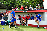 Lincoln City manager Danny Cowley, left, prior to kick off<br /> <br /> Photographer Chris Vaughan/CameraSport<br /> <br /> Football - Pre-Season Friendly - Lincoln United v Lincoln City - Saturday 8th July 2017 - Sun Hat Villas Stadium - Lincoln<br /> <br /> World Copyright &copy; 2017 CameraSport. All rights reserved. 43 Linden Ave. Countesthorpe. Leicester. England. LE8 5PG - Tel: +44 (0) 116 277 4147 - admin@camerasport.com - www.camerasport.com
