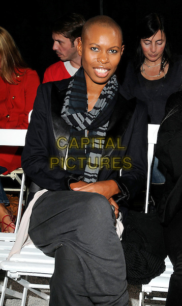SKIN (Deborah Anne Dyer).At the Julien MacDonald Show, London Fashion Week Day 3, The Lawrence Hall. Greycoat St. London, England, UK,.September 20th 2009..half length sitting  black grey gray scarf jacket striped tux tuxedo.CAP/CAN.©Can Nguyen/Capital Pictures.