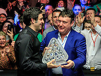Jimmy White presents Ronnie O'Sullivan with the trophy after Ronnie wins the Dafabet Masters FINAL between Barry Hawkins and Ronnie O'Sullivan at Alexandra Palace, London, England on 17 January 2016. Photo by Liam Smith / PRiME Media Images