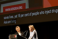 The co-chairs of the 20th International AIDS Conference (AIDS 2014) Fran&ccedil;oise Barr&eacute;-Sinoussi and Professor Sharon Lewin speak at the opening session of the 20th International AIDS Conference at The Melbourne Convention and Exhibition Centre.<br /> For licensing of this image please go to http://demotix.com