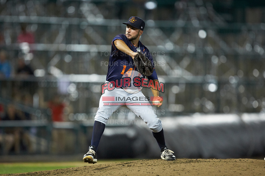 Bowling Green Hot Rods relief pitcher Michael Costanzo (14) in action against the Fort Wayne TinCaps at Parkview Field on August 20, 2019 in Fort Wayne, Indiana. The Hot Rods defeated the TinCaps 6-5. (Brian Westerholt/Four Seam Images)