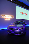 TOKYO - DECEMBER 4: Honda Motor Corp on Thursday announced it will release a new Accord and Accord Tourer models for the Japanese market from Friday. The renewed models feature advanced safety features such as side curtain airbags and Vehicle Stability Assist (VSA) as standard equipment. The renewed Accord models target upper-middle class couples in their 40-50s, according to the company. Accord Tourer, which is a renamed wagon-type Accord, is aimed for long-distance driving. The company expects 1,000 unit sales a month, and the price range is 2,700,000 to 4,100,000 yen. (Photo by Taro Fujimoto/JapanToday/Nippon News)