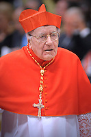 Newly-elevated Cardinal Domenico Bartolucci of Italy (R), who is one of the 24 new cardinals installed by Pope Benedict XVI (not pictured) during the Consistory ceremony in Saint Peter's Basilica at the Vatican, 20 November 2010. Reports state that Pope Benedict XVI installed 24 new Roman Catholic cardinals from around the world on 20 November 2010 in his latest batch of appointments that could include his successor as leader of the 1.2 billion member church