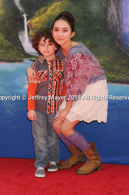 BURBANK, CA- MARCH 22: Actors August Maturo (L) and Rowan Blanchard attend the premiere of DisneyToon Studios' 'The Pirate Fairy' at Walt Disney Studios on March 22, 2014 in Burbank, California.