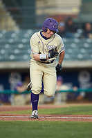 Daylan Nanny (9) of the Western Carolina Catamounts hustles down the first base line against the Saint Joseph's Hawks at TicketReturn.com Field at Pelicans Ballpark on February 23, 2020 in Myrtle Beach, South Carolina. The Hawks defeated the Catamounts 9-2. (Brian Westerholt/Four Seam Images)
