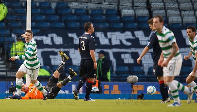 Gary Hooper celebrates as Anthony Stokes' free-kick beats keeper Michael McGovern