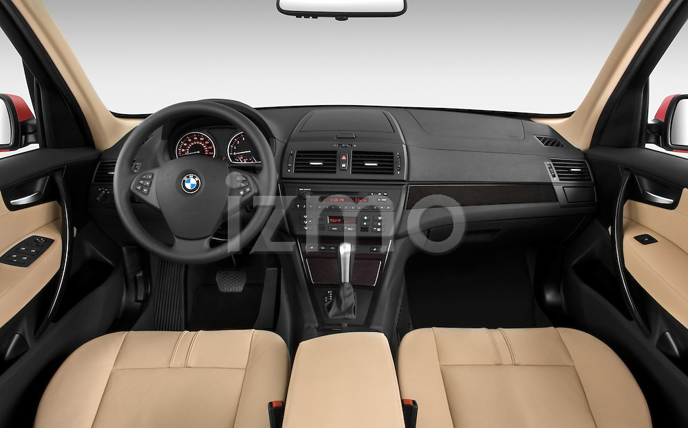 Straight dashboard view of a 2008 BMW X3
