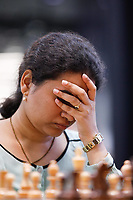 29th December 2019, Moscow, Russia;  Koneru Humpy of India reacts ahead of her match with Tan Zhongyi in the final round of the 2019 King Salman World Chess Rapid Women Championship in Moscow, Russia