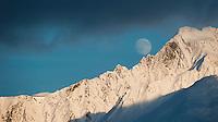 Moon over the Kenai Mountains, Alaska.