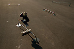 Skateboarder Harrison Christy, 11, of Easton, Connecticut, skates at the Launch Pad at Camp Woodward in Woodward, Pennsylvania.  August 9, 2005.