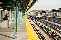 """A test train consisting of new R179 subway cars runs along the elevated portion of the """"A"""" line in Queens in New York on Wednesday, November 2, 2016. manufactured by Bombardier, partially in upstate Plattsburgh, New York, the cars will eventually replace the comparatively ancient R32 cars from 1964 on the A, C, M, J, and Z lines. ( © Richard B. Levine)"""