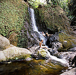 Makamakaole Falls on the rugged North Shore of West Maui