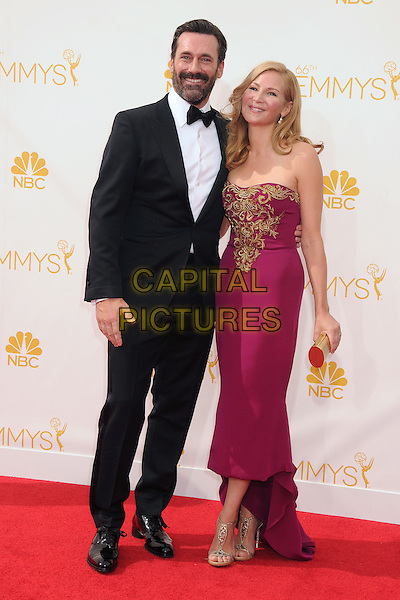 25 August 2014 - Los Angeles, California - Jon Hamm, Jennifer Westfeldt. 66th Annual Primetime Emmy Awards - Arrivals held at Nokia Theatre LA Live. <br /> CAP/ADM/BP<br /> &copy;BP/ADM/Capital Pictures
