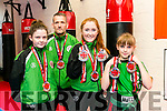 Black Belt Martial Arts,  Pembrook Street members l-r Ava Kelly, Tralee, Alan Guilfoyle, Tralee, Ally Guilfoyle,  Isabel Shaw  won ten medals at World Championships in malaga spain this month