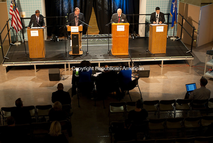 WATERBURY, CT--- -102115JS21---Mayoral candidates, from left, Petitioning candidate Jimmie Griffin; Democrat Neil M. O'Leary.; Independent Lawrence De Pillo and Republican Jose Morales,  during their debate on education Wednesday at Waterbury Arts Magnet School. <br /> Jim Shannon Republican-American